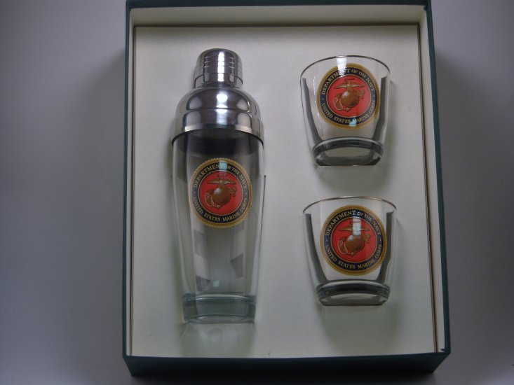 Marines, Cocktail Shaker Set w/2 Tapered Old Fashioned, Gift Box - Click Image to Close