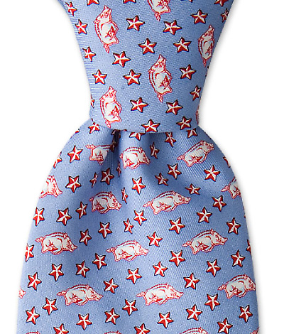 Arkansas Razor Back & Stars Tie