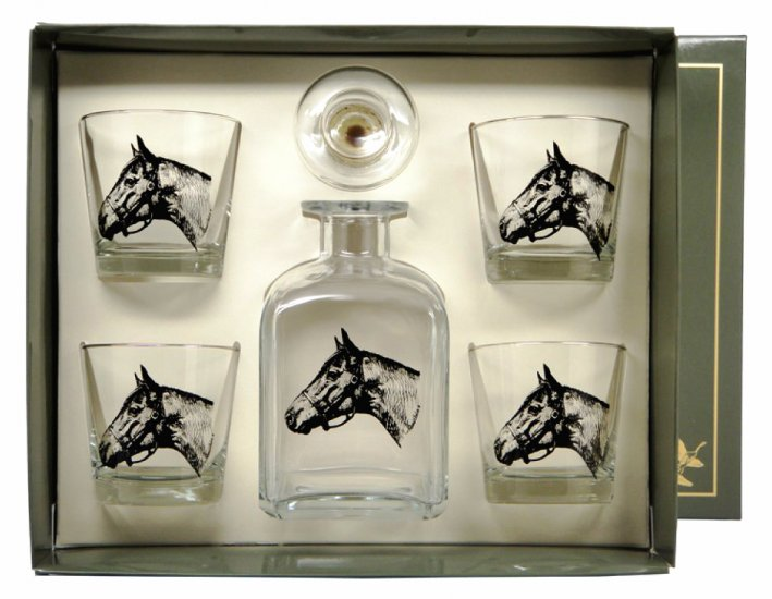 Seabiscuitt, Decanter set w/4 Tapered Old Fashioned, gift boxed - Click Image to Close