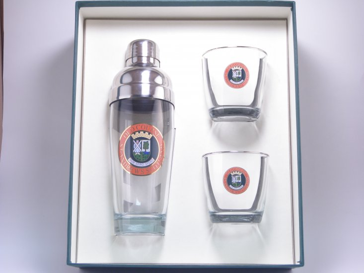 Scottish Golf, Cocktail Shaker Set w/2 Tapered Old Fashioned, Gi - Click Image to Close