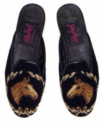 TW1049 Horse Head on Black Needlepoint Mule