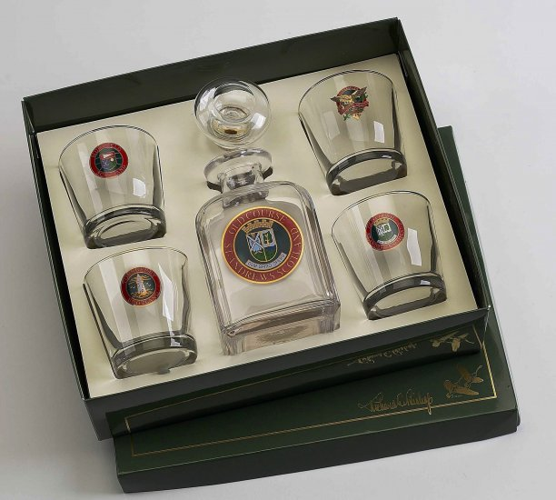 Scottish Golf, Decanter set w/4 Tapered old fashioned, gift boxe - Click Image to Close