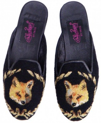 T03369 Fox in Wreath Needlepoint Mule  *NEW*