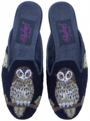T03392-1   Night Owl on Black Needlepoint Mule