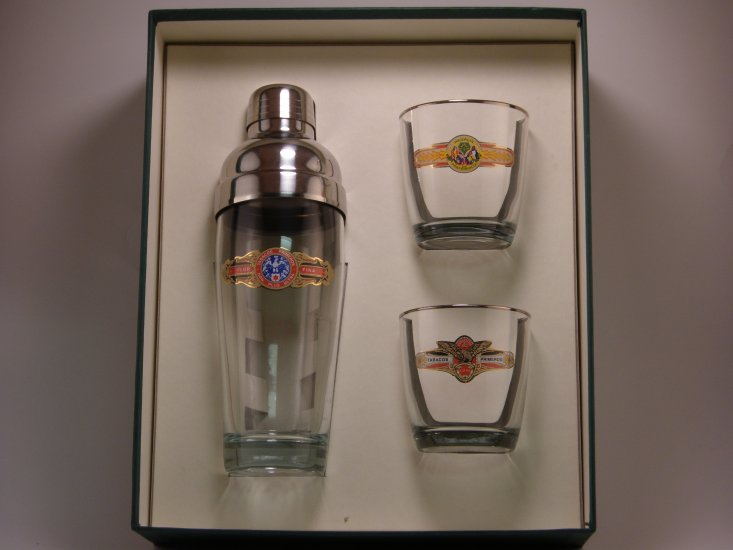 Cigar, Cocktail Shaker Set w/2 Tapered Old Fashioned, Gift Boxed - Click Image to Close
