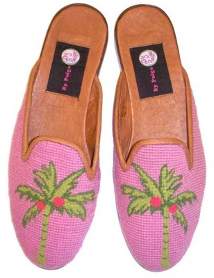 T03301 Preppy Palm Needlepoint Mule