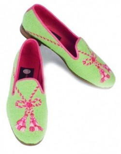 X03304-1  Pink Tassel on Lime Needlepoint Loafers