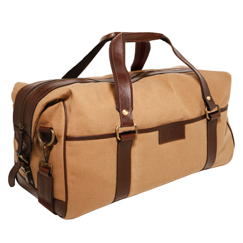 Trafalgar Georgetown Canvas Duffle : 100% Genuine Leather Trim