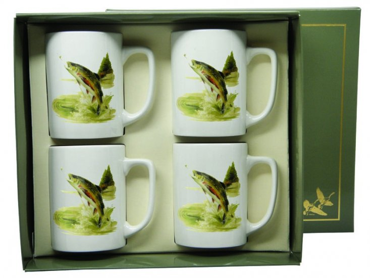 Trout, Porcelain Mugs, 10oz, gift boxed - Click Image to Close