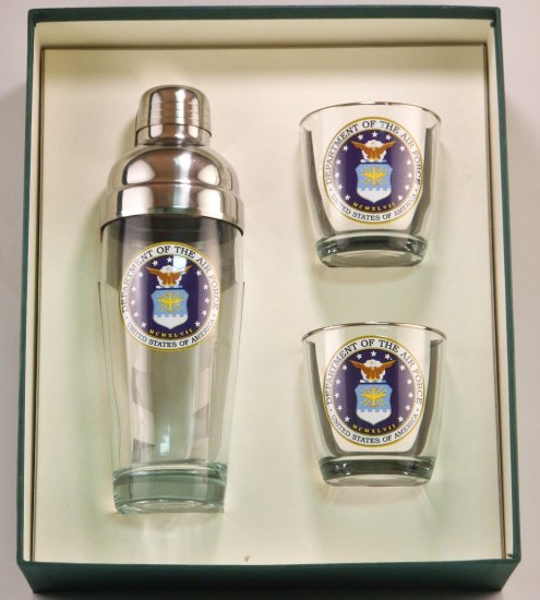 Air Force, Cocktail Shaker, Set w/3 Tapered Old Fashioned, Gift - Click Image to Close