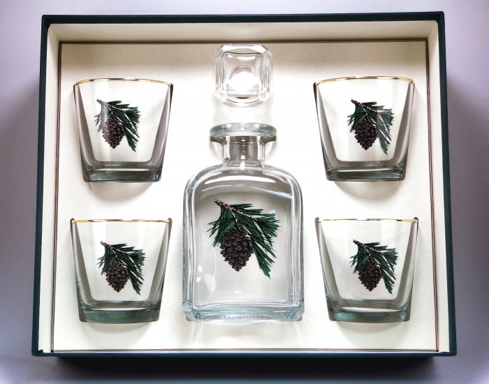 Pine Cone, Decanter Set w/4 Tapered Old Fashioned, gift Boxed - Click Image to Close