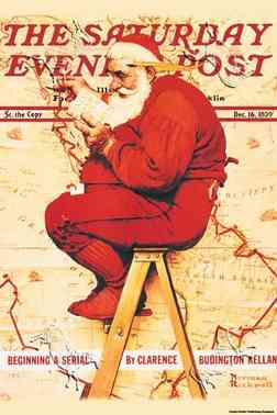 Saturday Evening Post: Santa Maps His Route Norman Rockwell prints, posters, canvas transfers