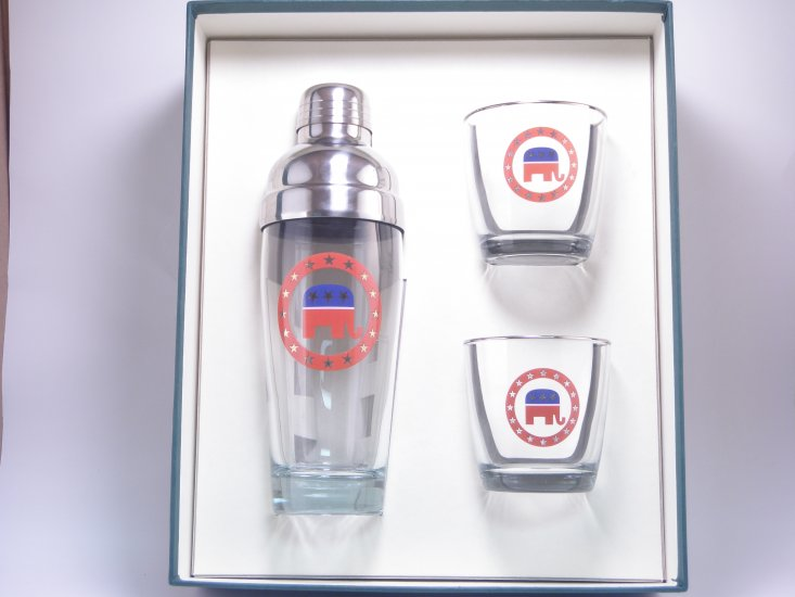 Republican, Cocktail Shaker, Set w/2 Tapered Old Fashioned, Gift - Click Image to Close