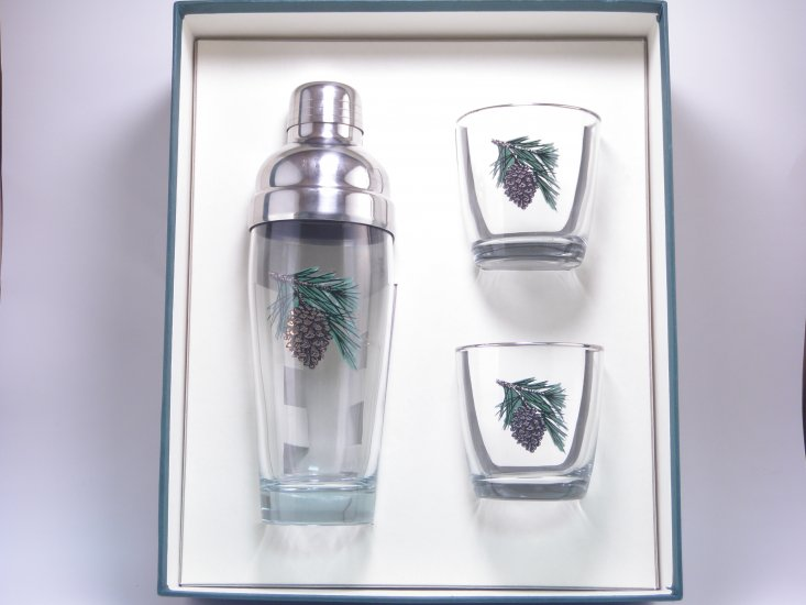 Pine Cone, Cocktail Shaker, Set w/2 Tapered Old Fashioned, Gift - Click Image to Close