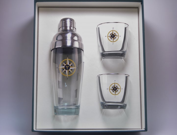 Compass Rose, Decanter Set w/4 Tapered Old Fashioned, gift Boxed - Click Image to Close