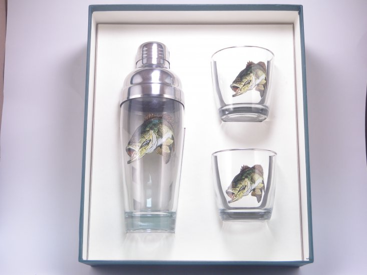 Bass, Cocktail Shaker Set w/2 Tapered Old Fashioned, Gift Boxed - Click Image to Close