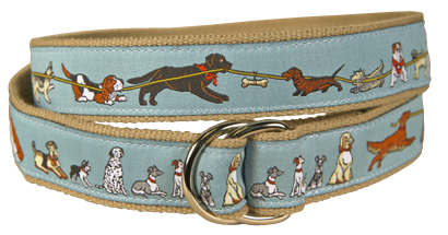 Tug of Dog (Blue-Gray) D-Ring Belt