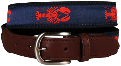 Maine Lobster (Navy) Leather Tab Belt