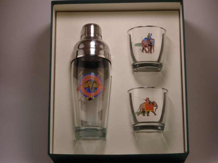 Elephant Polo, Cocktail Shaker Set w/2 Tapered Old Fashioned, Gi - Click Image to Close