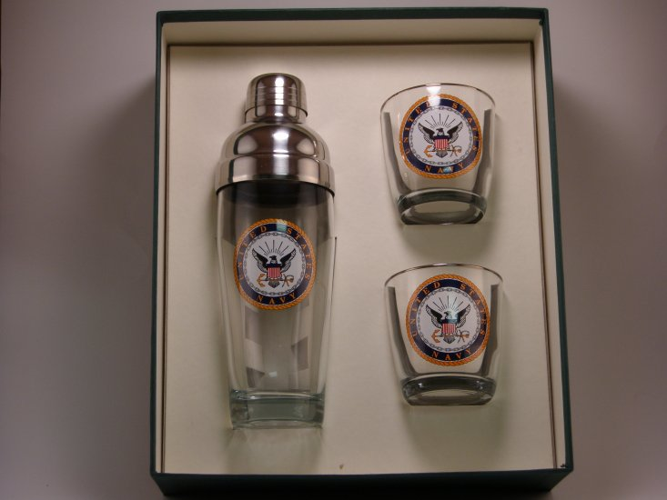 Navy, Cocktail Shaker Set w/2 Tapered Old Fashioned, Gift Boxed - Click Image to Close