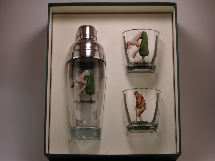 Angus & Winnie Golf, Cocktail Shaker Set w/2 Tapered Old Fashion - Click Image to Close