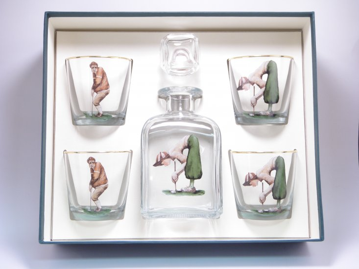 Angus & Winnie Golf, Decanter Set w/4 Tapered Old Fashioned, gif - Click Image to Close