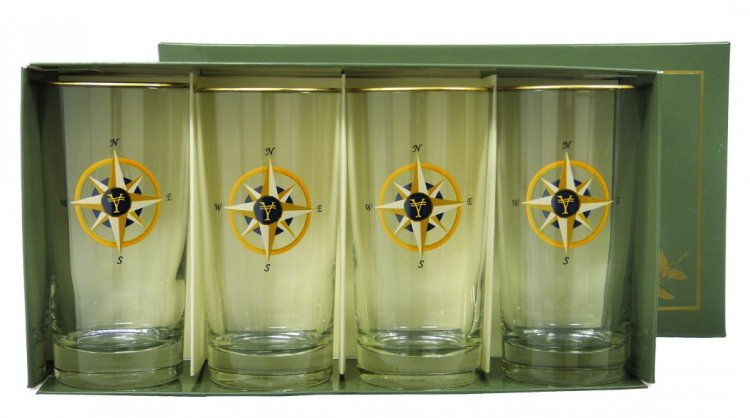 Compass Rose Highball, 13oz, gift boxed - Click Image to Close