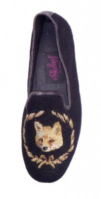 Nanx-03369 Fox on Black Needlepoint Loafers for Men