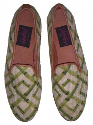 Nanx-03346 Bamboo on Cream Needlepoint Loafer for Men