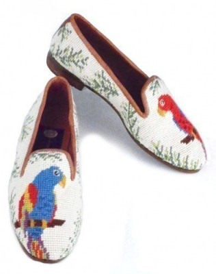 X7039 Red and Blue Needlepoint Parrot Loafers-Women's