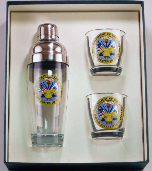 Army, Cocktail Shaker Set w/2 Tapered Old Fashioned, Gift Boxed - Click Image to Close
