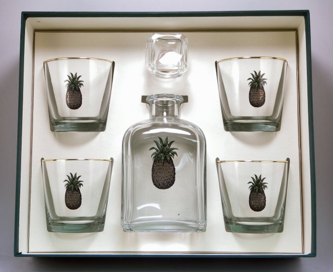 Pineapple, Decanter Set w/4 Tapered Old Fashioned, gift Boxed - Click Image to Close