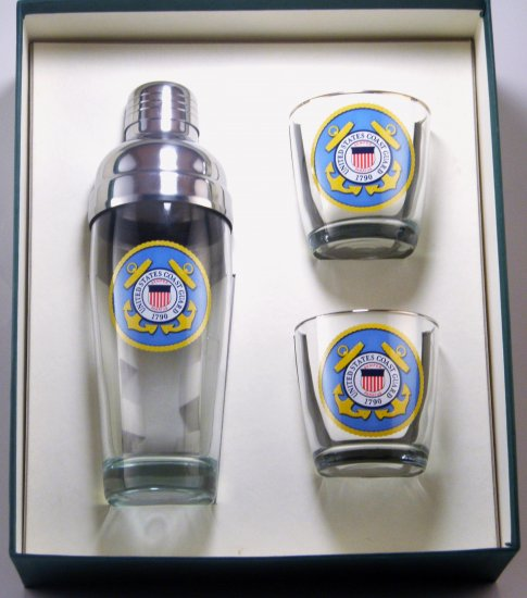 Coast Guard, Cocktail Shaker Set w/2 Tapered Old Fashioned, Gift - Click Image to Close