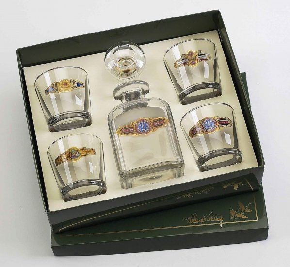Cigar Decanter set w/4 Tapered Old Fashioned, gift boxed - Click Image to Close