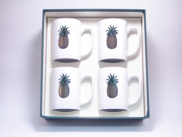 Pineapple, Porcelain Mugs, 10oz, gft boxed - Click Image to Close