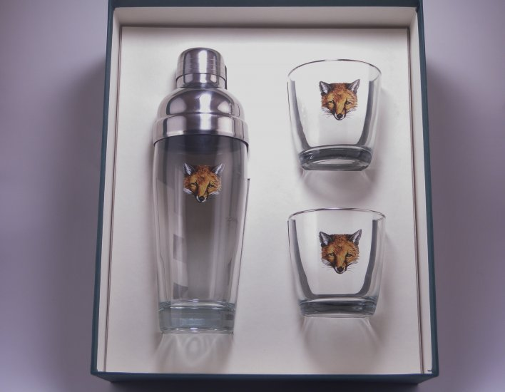 Fox, Cocktail Shaker Set w/2 Tapered Old Fashioned, Gift Boxed - Click Image to Close