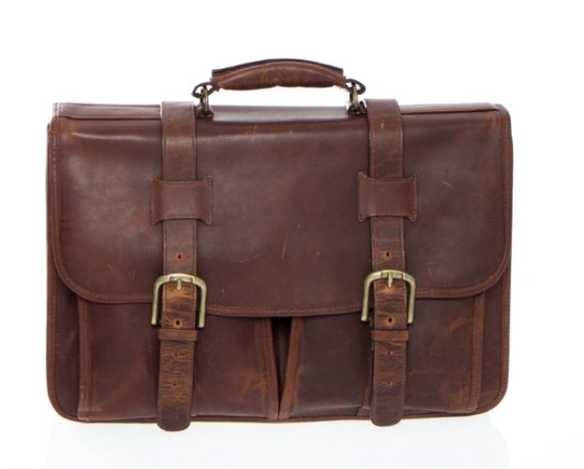 F1005 - Leather Briefcase Flap Over - Adventure