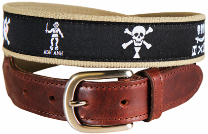 Pirate Flags (Midnight) Leather Tab Belt