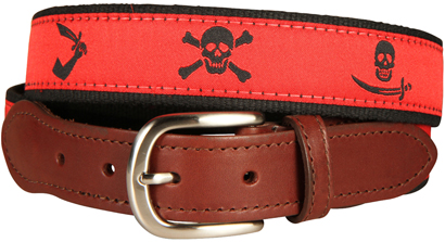 Pirate Flags (Blood Red) Leather Tab Belt