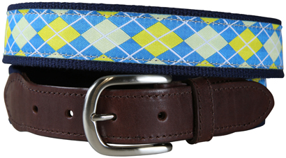 Argyle (Blue & Yellow) Leather Tab Belt