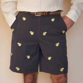 Embroidered Cisco Shorts Nantucket Navy with Beer Mug